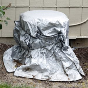 Air Conditioner Protected by cover